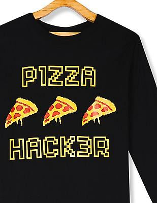 The Children's Place Boys Black Pizza Hacker Graphic T-Shirt