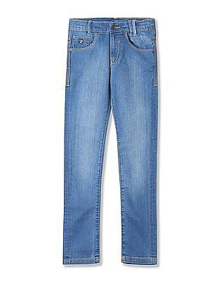 U.S. Polo Assn. Kids Boys Mid Rise Stone Wash Jeans