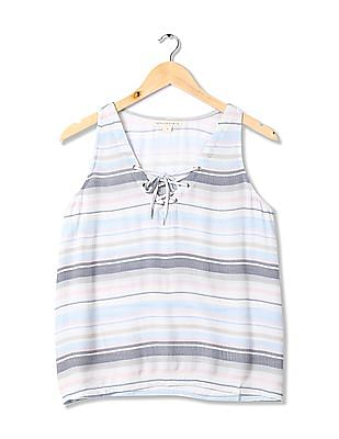Aeropostale Lace Up Patterned Striped Top