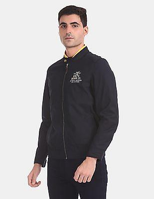 U.S. Polo Assn. Denim Co. Men Blue Stand Neck Zip Up Jacket