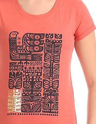 Cherokee Printed Crew Neck T-Shirt