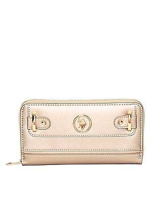 U.S. Polo Assn. Women Textured Zip Around Wallet