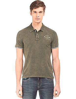Flying Machine Washed Slim Fit Polo Shirt