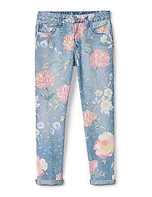 GAP Girls Girlfriend Jeans In Floral Print