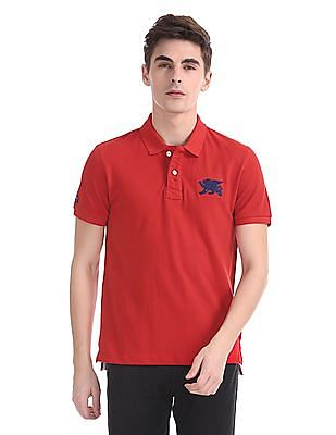 Flying Machine Short Sleeve Pique Polo Shirt
