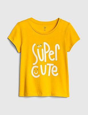 GAP Yellow Toddler Girl Graphic Short Sleeve T-Shirt