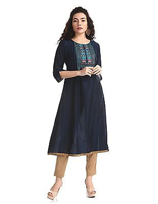 Anahi Blue Embroidered Viscose Kurta