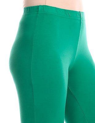 U.S. Polo Assn. Women Green Regular Fit Solid Stretch Leggings