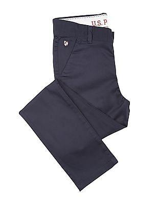 U.S. Polo Assn. Kids Boys Adjustable Waist Slim Fit Trousers