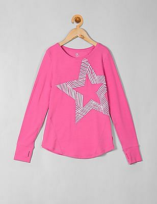 GAP Girls Pink Graphic Long Sleeve Tee