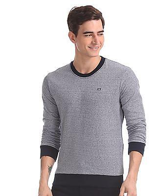 Arrow Sports Blue Crew Neck Reversible Sweatshirt