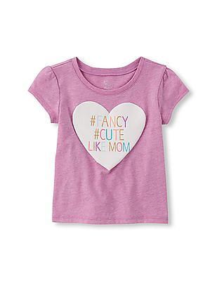 The Children's Place Toddler Girl Short Sleeve '#Fancy #Cute Like Mom' Glitter Graphic Tee