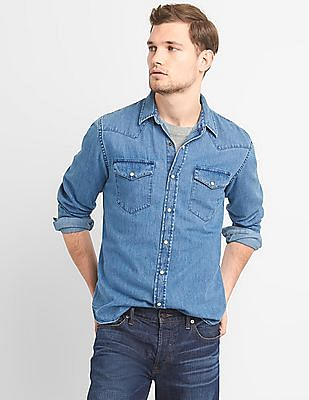 GAP Slim Fit Western Shirt In Denim