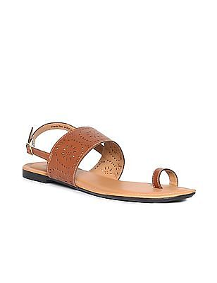 Bronz Lasercut Strap Open Toe Sandals