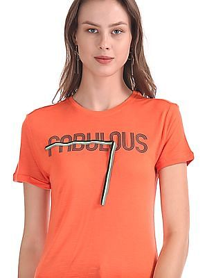 Flying Machine Women Printed Slub Knit T-Shirt