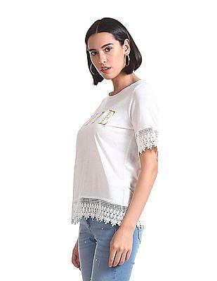 Elle Studio Embroidered Short Sleeve Top