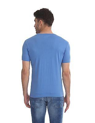 Flying Machine Blue Cotton Printed T-Shirt