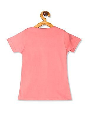 Cherokee Pink Girls Camera Print Cotton Jersey T-Shirt