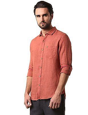True Blue Solid Linen Cotton Shirt