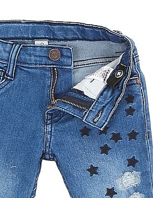 Cherokee Girls Star Embroidered Distressed Jeans