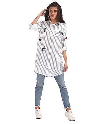 EdHardy Women Longline Printed Shirt