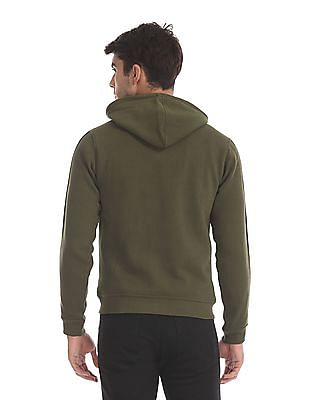 Flying Machine Green Sleeve Tape Hooded Sweatshirt