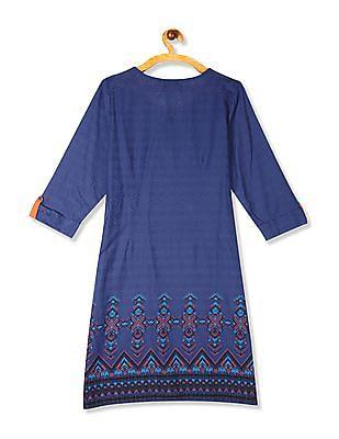 Karigari Blue Patterned Cotton Kurta