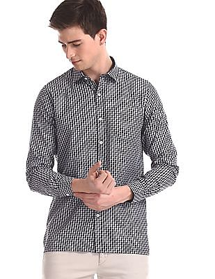 Excalibur Brown Regular Fit Check Shirt