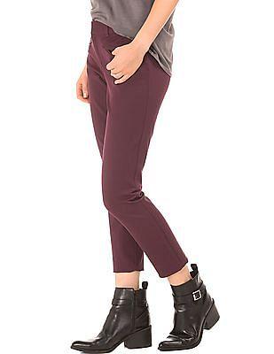 GAP Women Purple Bi-Stretch Skinny Ankle Pants