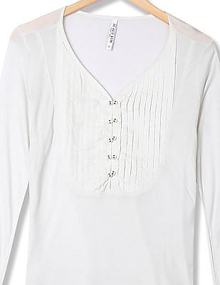 U.S. Polo Assn. Women V-Neck Pleated Front Top