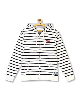 Flying Machine Hooded Stripe Sweatshirt
