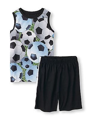 The Children's Place Boys Sleeveless Photo-Real Soccer Ball Graphic Tank Top And Side-Striped Shorts PJ Set