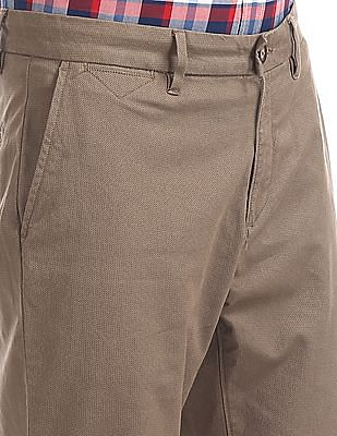 U.S. Polo Assn. Brown Printed Denver Slim Fit Trousers