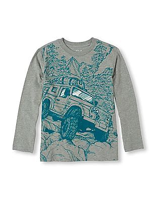 The Children's Place Boys Full Sleeve Jeep Print T-Shirt