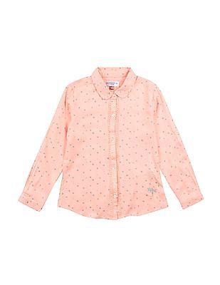 U.S. Polo Assn. Kids Girls Star Print Lace Trim Shirt