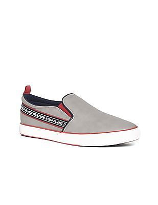 Flying Machine Grey Brand Tape Textured Slip On Shoes
