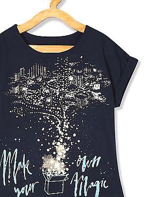 Cherokee Girls Round Neck Glitter Print T-Shirt