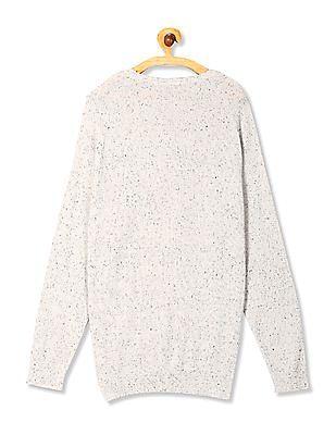 Cherokee Grey Crew Neck Patterned Sweater