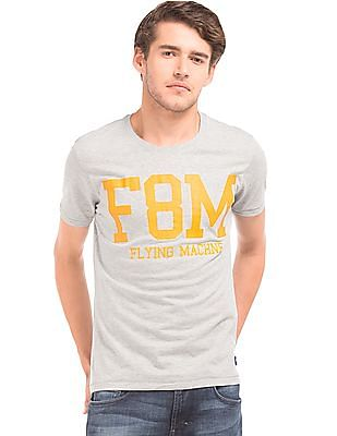 Flying Machine Printed Heathered T-Shirt