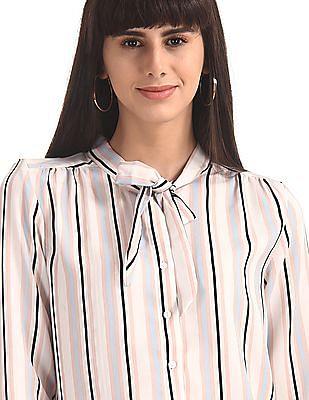 Elle Studio White Pussy Bow Striped Shirt