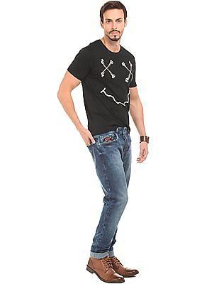 Ed Hardy Roll Up Sleeve Printed T-Shirt