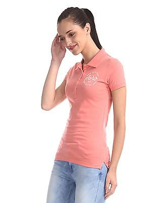 Aeropostale Pink Solid Cotton Polo Shirt