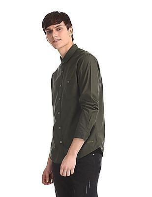 Cherokee Green Rounded Cuff Solid Shirt