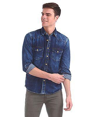 Cherokee Long Sleeve Faded Denim Shirt