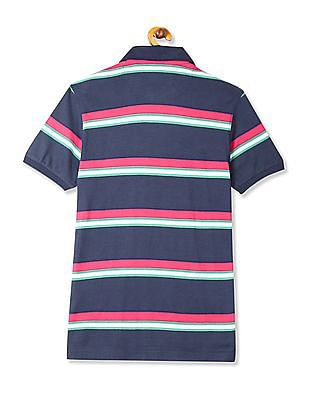 Flying Machine Blue Regular Fit Striped Polo Shirt