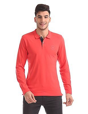 Flying Machine Slim Fit Long Sleeve Polo Shirt