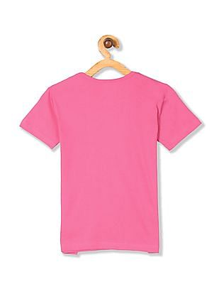 Cherokee Girls Short Sleeve Glitter Graphic T-Shirt