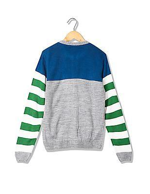 Cherokee Boys Zip Up Striped Sweater