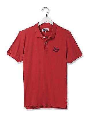 Flying Machine Solid Short Sleeve Polo Shirt