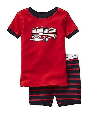 GAP Baby Assorted Fire Truck Short Sleep Set